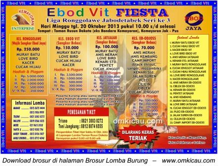 Brosur Lomba Burung Ebod Vit Fiesta, Jakarta, 20 Oktober 2013