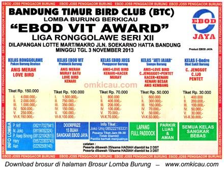 Brosur Lomba Burung Berkicau Ebod Vit Award (LRJ 12), Bandung, 3 November 2013