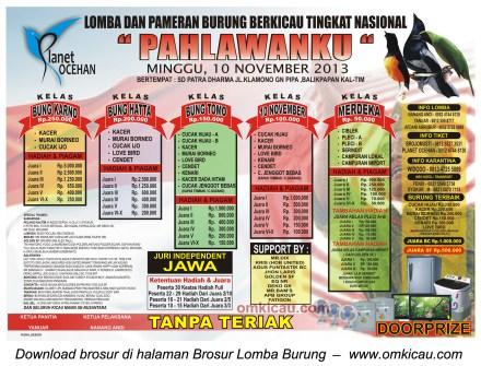 Brosur Lomba Burung Berkicau Pahlawanku, Balikpapan, 10 November 2013