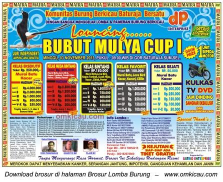 Brosur Lomba Burung Berkicau Bubut Mulya Cup I, Baturaja, 3 November 2013