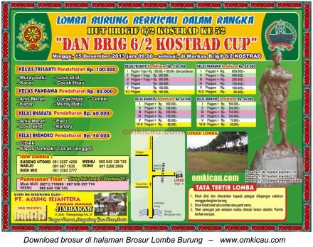 Brosur Lomba Burung Berkicau Dan Brig 6/2 Kostrad Cup, Solo, 15 Desember 2013