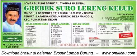 Brosur Lomba Burung Berkicau Grebek Suro Lereng Kelud, Kediri, 1 Desember 2013