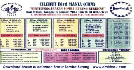 Brosur Lomba Burung Berkicau CBM, Bogor, 14 Januari 2014