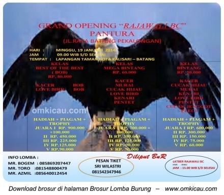 Brosur Lomba Burung Grand Opening Rajawali BC Pantura, Batang, 19 Januari 2014