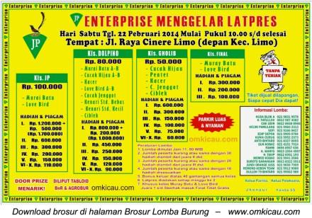 Brosur Latpres Burung Berkicau JP Enterprise, Depok, 22 Februari 2014