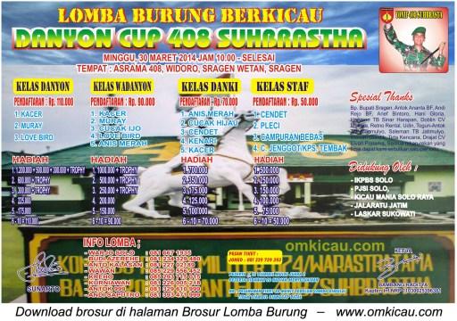 Brosur Lomba Burung Berkicau Danyon Cup 408 Suhbrastha, Sragen, 30 Maret 2014