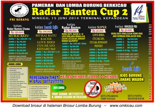 Brosur Lomba Burung Berkicau Radar Banten Cup, Serang, 15 Juni 2014