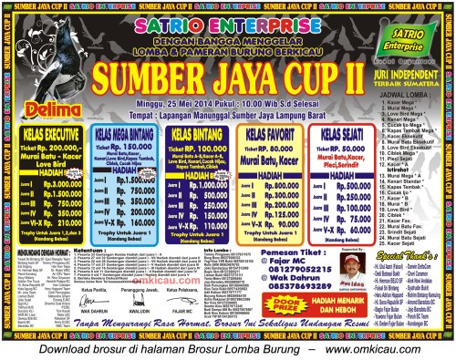Brosur Lomba Burung Berkicau Sumber Jaya Cup II, Lampung Barat, 25 Mei 2014