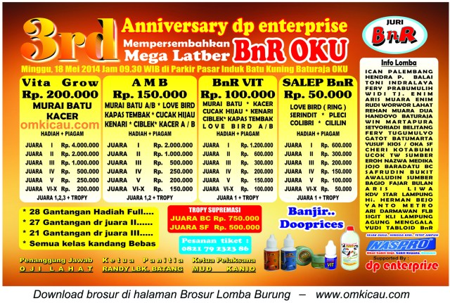 Brosur Mega Latber BnR OKU, Baturaja, 18 Mei 2014