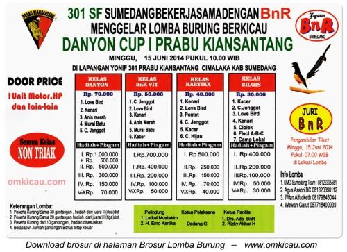 Brosur Lomba Burung Berkicau Danyon-Cup 1 Prabu Kiansantang, Sumedang, 15 Juni 2014