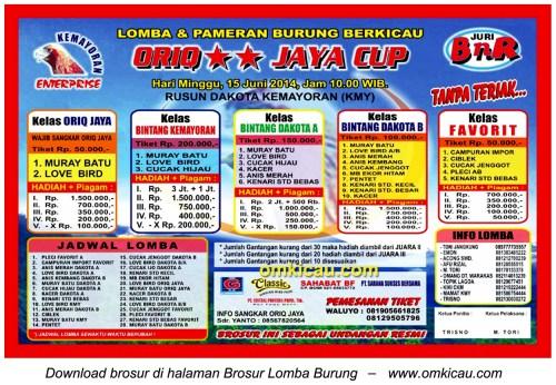 Brosur Lomba Burung Berkicau Oriq Jaya Cup, Jakarta, 15 Juni 2014
