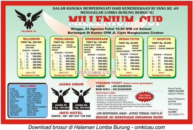Brosur Lomba Burung Berkicau Millenium Cup, Cirebon, 24 Agustus 2014