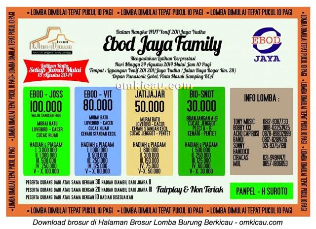Brosur Lomba Burung Berkicau Ebod Jaya Family, Jakarta Timur, 24 Agustus 2014