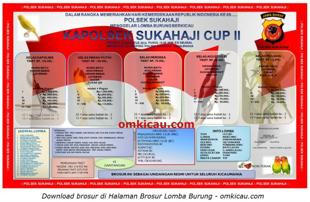 Brosur Lomba Burung Berkicau Kapolsek Sukahaji Cup II, Majalengka, 24 Agustus 2014