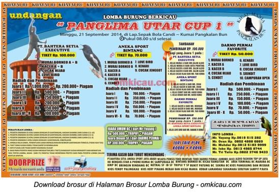 Brosur Lomba Burung Berkicau Panglima Utar Cup 1, Pangkalanbun, 21 September 2014