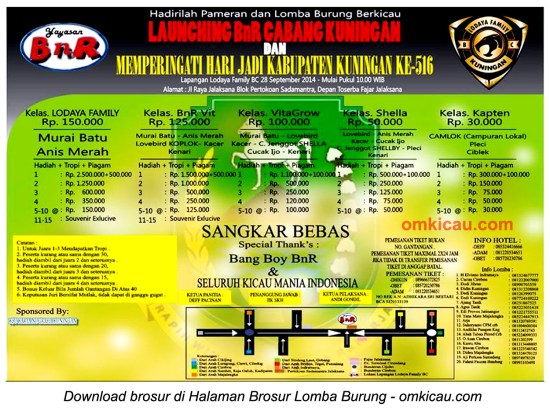 Brosur Lomba Burung Launching BnR Kuningan, 28 September 2014
