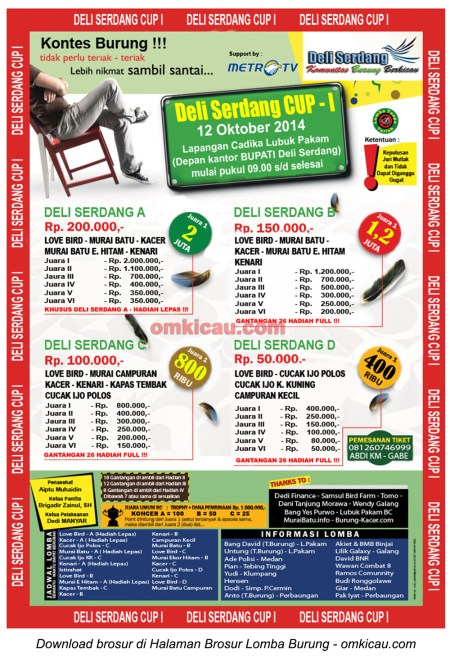 Brosur Lomba Burung Berkicau Deli Serdang Cup 1, 12 Oktober 2014
