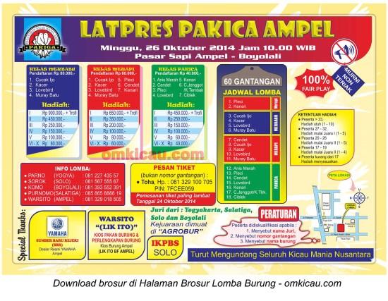 Brosur Latpres Pakica Ampel, Boyolali, 26 Oktober 2014