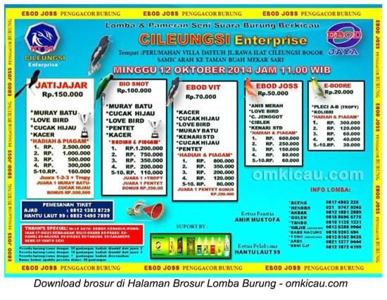 Brosur Lomba Burung Berkicau Cileungsi Enterprise, Bogor, 12 Oktober 2014