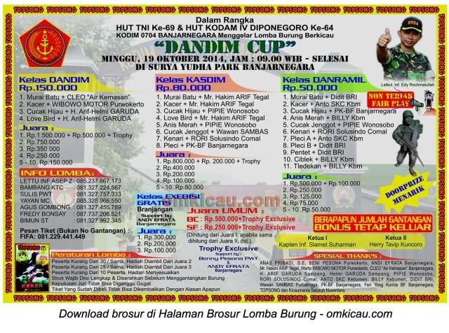 Brosur Lomba Burung Berkicau Dandim Cup, Banjarnegara, 19 Oktober 2014