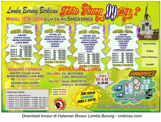 Brosur Lomba Burung Berkicau Kota Juang 99 Cup, Sangasanga-Kaltim, 12 Oktober 2014