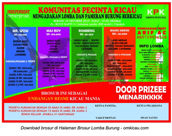 Brosur Lomba Burung Berkicau KPK, Jakarta Selatan, 19 Oktober 2014