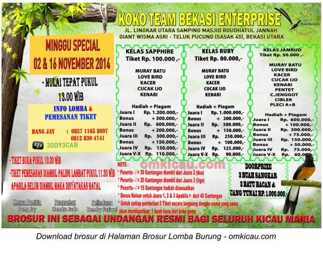 Brosur Minggu Spesial Koko Team Bekasi, 2 & 16 November 2014