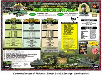 Brosur Lomba Burung Berkicau Dandim Klaten Cup, Klaten, 30 November 2014
