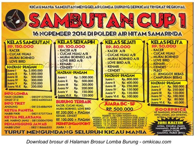 Brosur Lomba Burung Berkicau Sambutan Cup 1, Samarinda, 16 November 2014