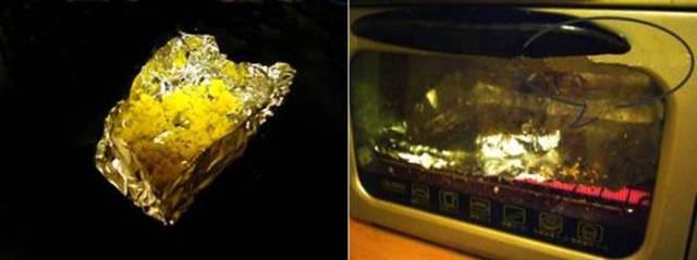 Dibungkus dengan alumuniu foil lalu dipanggang dalam oven