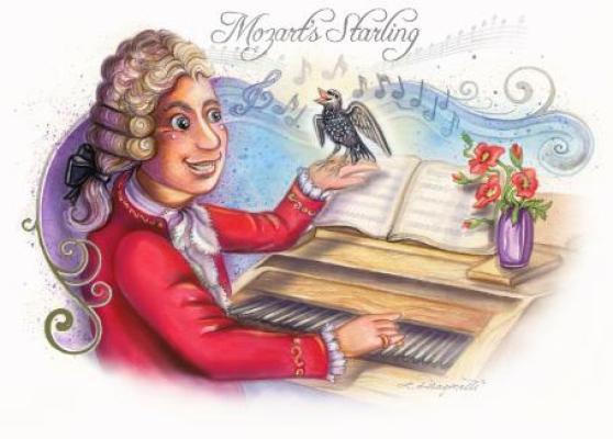 Ilustrasi Mozart dan burung jalak peliharaannya