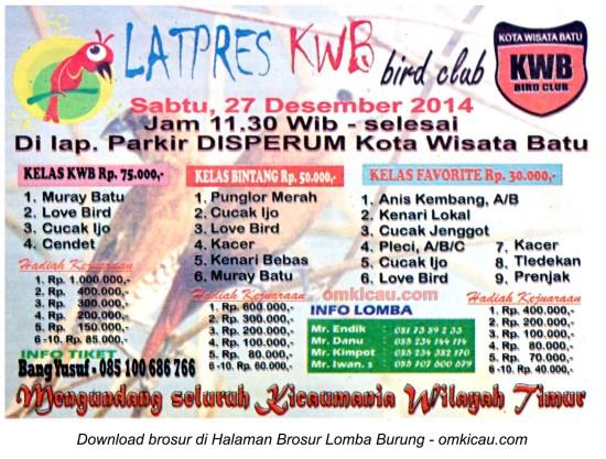 Brosur Latpres KWB Bird Club, Kota Batu, 27 Desember 2014