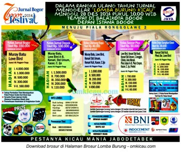 Brosur Lomba Burung Berkicau Festival Bogor, 28 Desember 2014