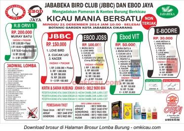 Brosur Lomba Burung Berkicau Jababeka BC, Bekasi, 21 Desember 2014