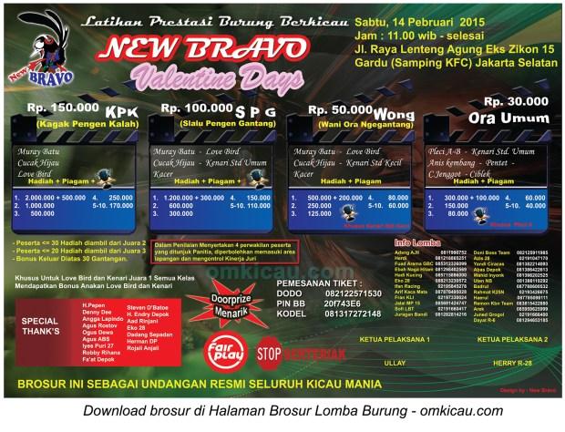 Brosur Latpres New Bravo Valentine Days, Jakarta Selatan, 14 Februari 2015