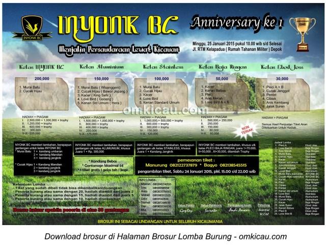 Brosur Lomba Burung Berkicau Anniversary Ke-1 Inyonk BC, Depok, 25 Januari 2015
