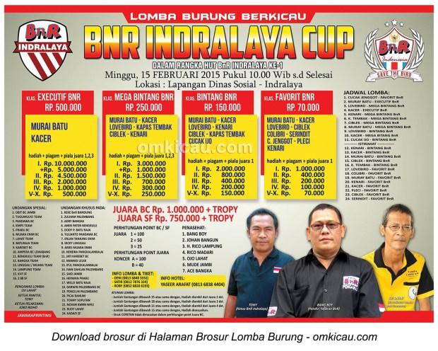 Brosur Lomba Burung Berkicau BnR Indralaya Cup, Ogan Ilir, 15 Februari 2015