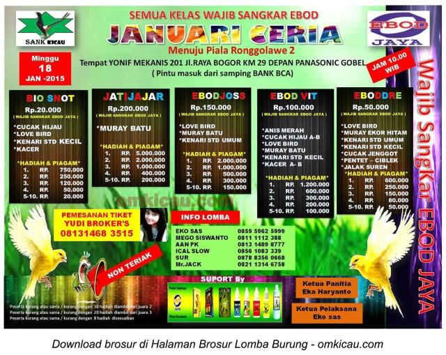 Brosur Lomba Burung Berkicau Januari Ceria, Jakarta Timur, 18 Januari 2015