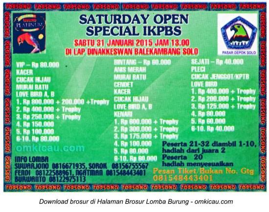 Brosur Lomba Burung Berkicau Saturday Open Special IKPBS, Solo, 31 Januari 2015