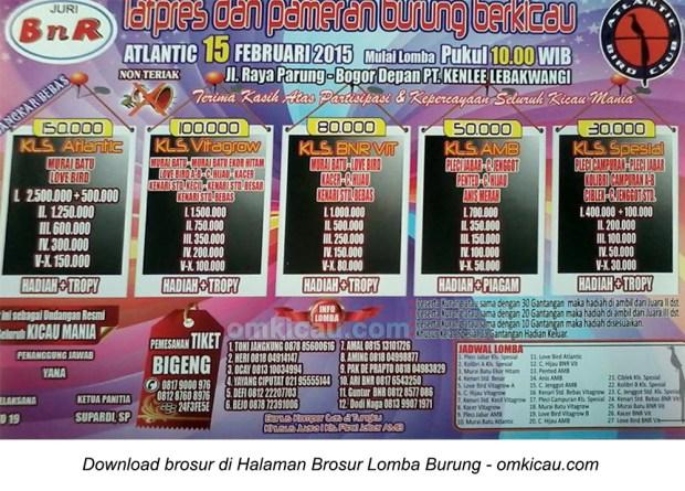 Brosur Latpres Burung Berkicau BnR Atlantic, Bogor, 15 Februari 2015