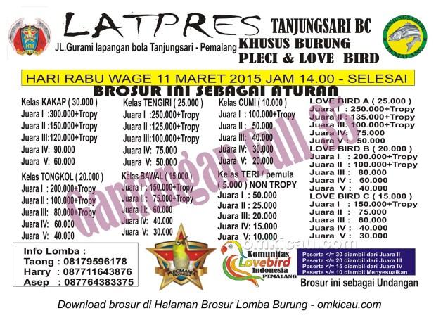 Brosur Latpres Burung Pleci dan Lovebird Tanjungsari BC, Pemalang, 11 Maret 2015