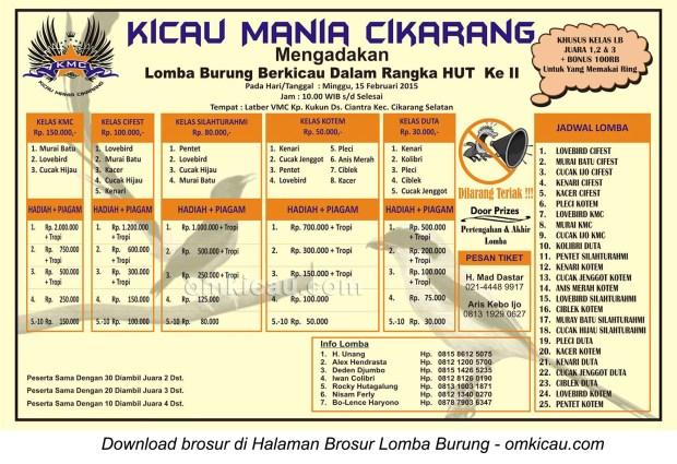 Brosur Lomba Burung Berkicau HUT II Kicau Mania Cikarang, Bekasi, 15 Februari 2015