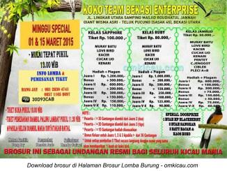 Brosur Lomba Burung Berkicau Koko Team Enterprise, Bekasi, 1 dan 15 Maret 2015