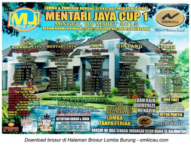 Brosur Lomba Burung Berkicau Mentari Jaya Cup 1, Balikpapan, 8 Maret 2015
