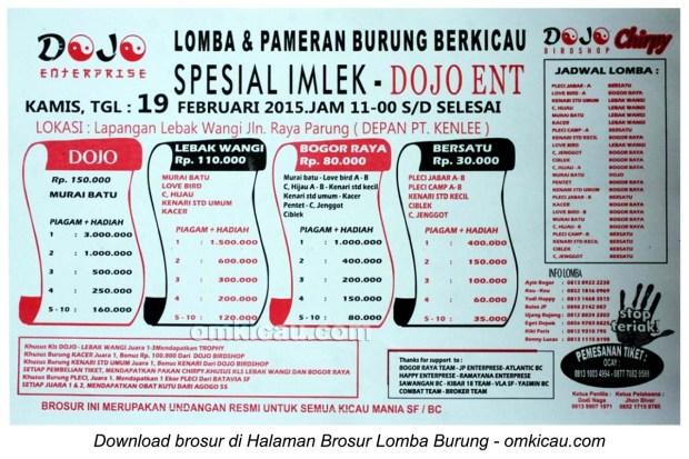 Brosur Lomba Burung Berkicau Spesial Imlek Dojo Ent, Bogor, 19 Februari 2015
