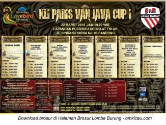 Brosur Lomba Burung KLI Paris Van Java Cup I, Bandung, 22 Maret 2015