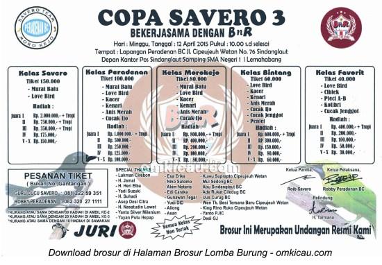 Brosur Lomba Burung Berkicau Copa Savero 3, Cirebon, 12 April 2015