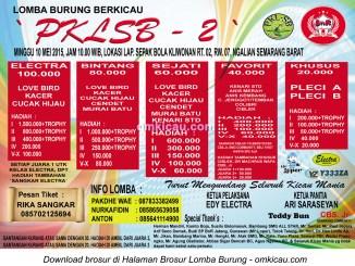 Brosur Lomba Burung Berkicau PKLSB-2, Semarang, 10 Mei 2015