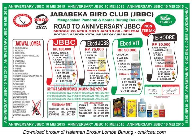 Brosur Lomba Burung Berkicau Road to Anniversary JBBC, Cikarang, 26 April 2015