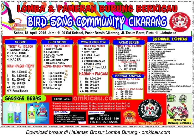 Brosur Lomba Burung Bird Song Community Cikarang, 18 April 2015